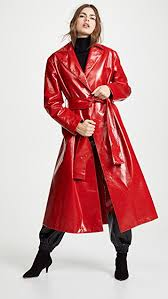 women faux leather trench coat red faux