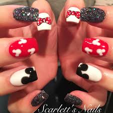 Red white and black glitter Disney gel nails #scarlettsnails ...