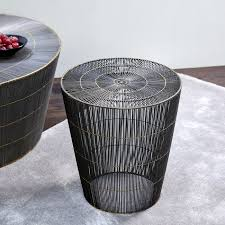 thoban stool side table woven wire