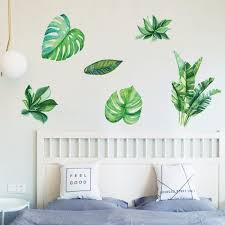 Home Decor Palm Leaves Wall Stickers Green Leaf Watercolor Ferns Decals Living Room Bedroom Decorative Murals Green Buy At The Price Of 4 50 In Dx Com Imall Com