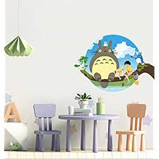 Amazon Com Pqzqmq My Neighbor Totoro Cartoon Wall Decal Stickers For Kids Room My Neighbor Totoro Wall Decor Home Kitchen