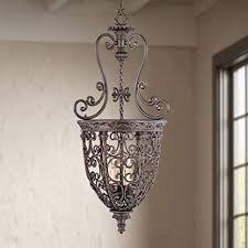 scroll rubbed bronze pendant chandelier