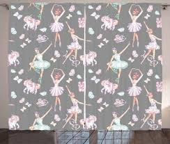 Kids Girls Curtains 2 Panels Set Ballerinas Dancing Among Puppet Unicorns Flying Butterflies On A Grey Backround Window Drapes For Living Room Bedroom 108w X 108l Inches Multicolor By Ambesonne Walmart Com