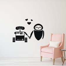 Wall E And Eve Wall Vinyl Decoration Disney Pixar Wall Art Decal For Bedroom Or Playroom Customvinyldecor Com