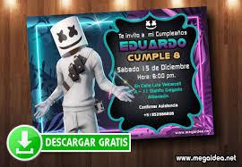 Marshmello Invitaciones Para Editar Gratis Mega Idea