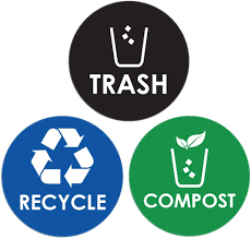 Amazon Com Pixelverse Design Trash Can Recycle Compost Sticker Set Uv Indoor Outdoors Kitchen Recycling Vinyl Decal 6 Pack 4x4 Inches Home Kitchen