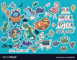 Cute Magical Sticker Set With Yeti Unicorn Vector Image