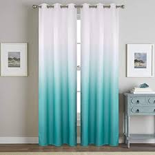 Amazon Com Wubodti Turquoise Curtains For Living Room 1 Panel Extra Long Thermal Insulated Ombre Window Treatment Curtains Shade Teal Drapes Grommet For Kids Bedroom Semi Blackout 106 Inches Furniture Decor