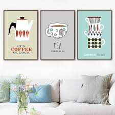 cartoon teapot cups coffee pot quotes wall art canvas painting