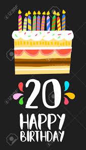 Numero 20 Del Feliz Cumpleanos Tarjeta De Felicitacion Por Veinte