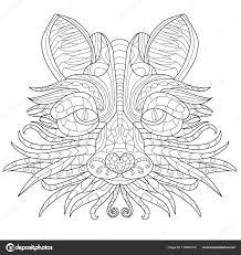 Fox Antistress Kleurboek Voor Volwassenen Stockvector