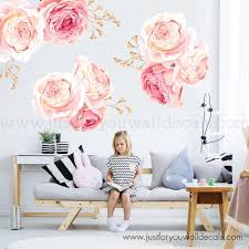 Pink And Gold Flower Wall Decals Floral Wall Decal Floral Wall Decals Wall Decals Living Room Nursery Wall Decals