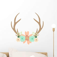 Amazon Com Wallmonkeys Fot 78982938 18 Wm269578 Deer Antlers And Flowers Vector Illustration Peel And Stick Wall Decals H X 18 In W 18 18 W Small Home Kitchen