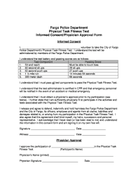 fitness testing consent form fill