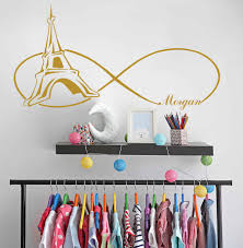 Vinyl Decals For Girls Wall Decals Paris Themed Bedroom Wall Sticker Personalized Sticker Girls Name Wall Decor Tower Decalay052 Wall Stickers Aliexpress