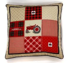 farmall tractor throw pillow tan and