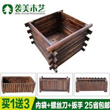 Buy Carbonized Wood Preservative Outdoor Flower Boxes Flower Boxes Outdoor Wood Wooden Fence Planters Pots Balcony Pots Vegetables Basin Rectangle In Cheap Price On M Alibaba Com