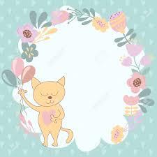 Tarjeta De Cumpleanos Gatos Y Flores