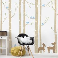 Birch Tree With Bird And Deer Wall Decals Birch Tree Decal 108 Trees Simpleshapes On Artfire