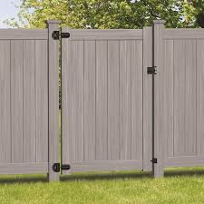 Freedom Bolton 6 Ft H X 4 Ft W Woodgrain Gray Vinyl Flat Top Fence Gate In The Vinyl Fence Gates Department At Lowes Com