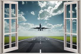 Huge 3d Window View Airplane On Runway Take Off Wall Sticker Decal Wallpaper S1 Ebay