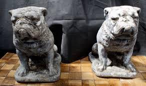 stone british bulldog garden statues