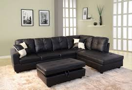 black faux leather sectional sofa