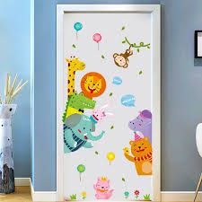 Cartoon Cute Animals Door Stickers Anime Wall Stickers For Kids Room Living Room Decorative Stickers Wall Decals Home Decor Pvc Wall Stickers Aliexpress