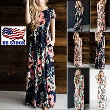 short sleeve boho long maxi dress