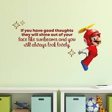 Design With Vinyl Good Thoughts Super Mario Life Quote Cartoon Quotes Wall Sticker Art Design Decal For Girls Boys Kid Room Home Decor Wall Art Vinyl 8x10 Inch Wayfair