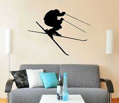 Downhill Skiing Wall Decal Skier Snow Freestyle Jumping Sport Bedroom Dorm Zx114 Ebay