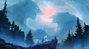 digital art ice wolf eagle fight hd