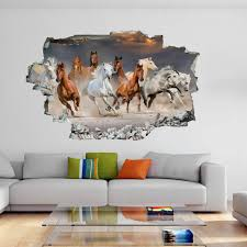 Horse Herd Desert Sunset Animal 3d Wall Sticker Mural Decal Kids Room Decor De47 Ebay
