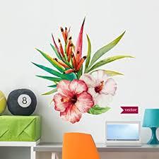 Amazon Com Wallmonkeys Beautiful Tropical Hawaiian Flowers Wall Decal Peel And Stick Floral Graphic 36 In H X 36 In W Wm66229 Furniture Decor
