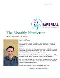 Welcome to the IHAC family DR. Harlan! — Imperial Highway Animal Clinic