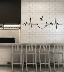 Vinyl Wall Decal Tea Cup Pulse Heart Kitchen Decor Breakfast Stickers Wallstickers4you