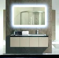 grey bathroom design with big mirror