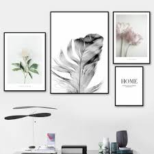 wall art canvas painting camellia feather quotes bedroom nordic