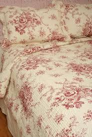 red toile standard quilt sham
