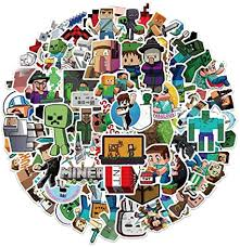 Amazon Com Minecraft Stickers 56 Pcs Vinyl Stickers For Laptop Water Bottle Bike Car Motorcycle Bumper Luggage Skateboard Graffiti Decal Arts Crafts Sewing