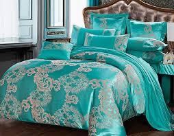 luxury blue jacquard duvet cover set