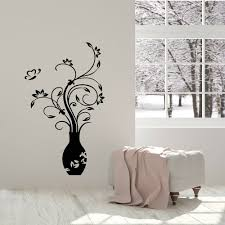 Vase Wall Decal Home Decor Living Room Butterfly Flowers Leaves Vinyl Stickers Master Bedroom Background Art Decoration Z730 Wall Stickers Aliexpress