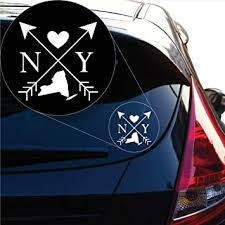 Amazon Com Yoonek Graphics New York Love Cross Arrow State Ny Decal Sticker For Car Window Laptop And More 1099 4 X 4 White Automotive