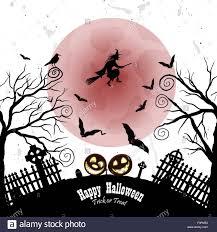 Happy Halloween Greeting Card Elegant Design With Bats Owl Grave Stock Vector Image Art Alamy