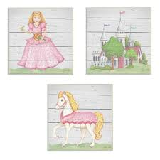 The Kids Room By Stupell 12 In X 12 In Princess Horse Kingdom Wood Planks By Jessica Mundo Printedwood Wall Art Brp 2227 Wd 3pc 12x12 The Home Depot