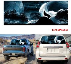 Zqasales Car Stickers And Decals Car Rear Window Tailgate Wolf Howling Moon Galaxy Sticker Decal For Truck Suv Automotive Cjp Org In