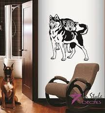 Vinyl Decal Husky Couple Dogs Puppy Bedroom Nursery Pet Shop Wall Sticker 112 Ebay
