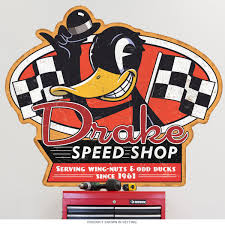 Drake Speed Shop Racing Flags Wall Decal Garage Decor At Retro Planet