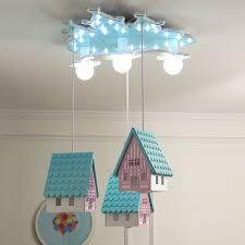 Cartoon House Semi Flush Ceiling Light Wood 3 Lights Kids Room Flushmount Lamp In Blue Beautifulhalo Com