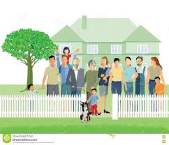 Multiple Generational Family In Home Stock Vector Illustration Of Outdoors Fencing 71717688